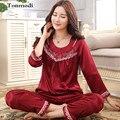 2016 New Kaoulan Pajamas Set For Women 100% Silk Plus size Ladies pajamas Long Sleeve Silk Pyjamas Femmes
