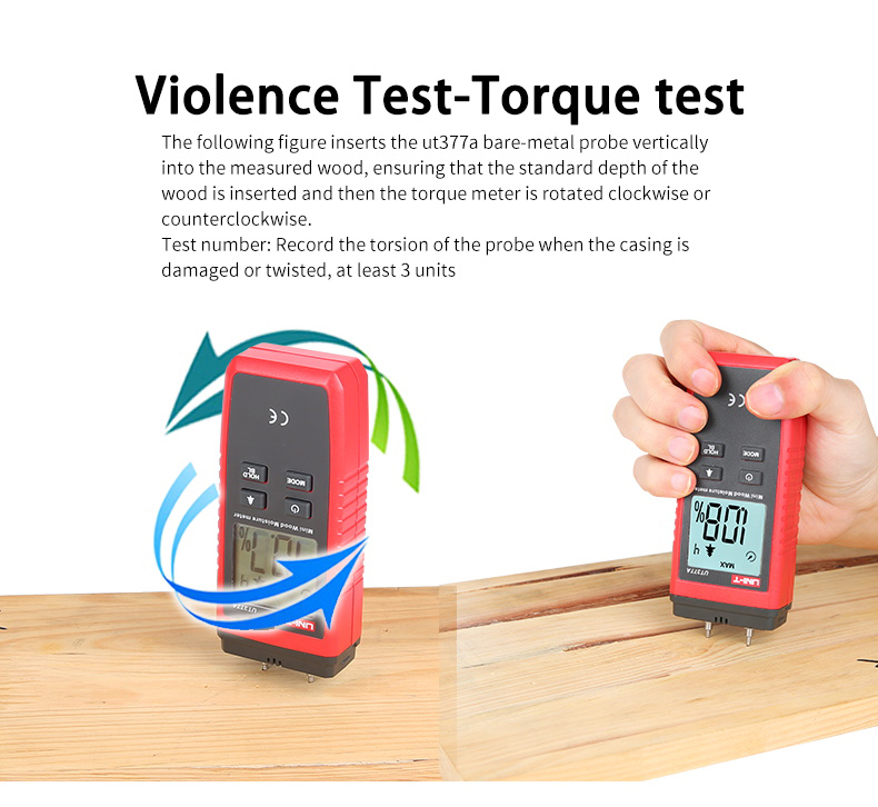 UNI T UT377A Digital Wood Moisture Meter Used as Humidity Tester for Paper Plywood and Wooden Materials 12