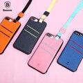 Baseus caso de luxo para iphone 7 plus de inserção do cartão caso capa com suspensão da corda coque shell pc + pu + tpu caso de telefone para o iphone 7