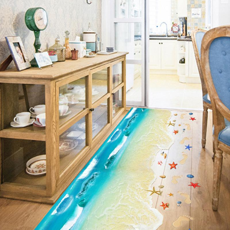 3D Sea Kids Poster Wall Stickers Footprint Beach Bathroom Floor  Sticker(China)