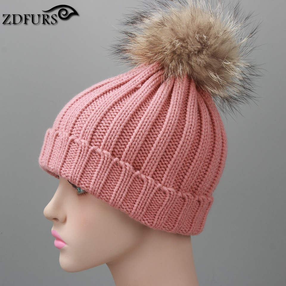 racccoon dog fur ball cap pom poms winter hat for women girl 's wool hat knitted cotton beanies cap brand new thick female cap 4pcs new for ball uff bes m18mg noc80b s04g