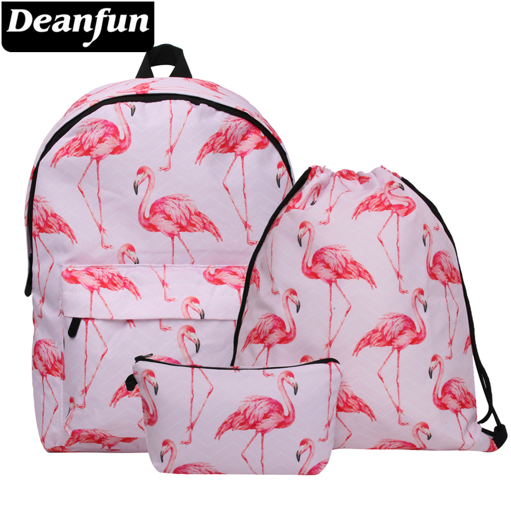 Deanfun Waterproof School Backpacks Women Flamingo Bookbag Cute Travel Bag for Teenage Girls Kawaii Knapsack 026 цены