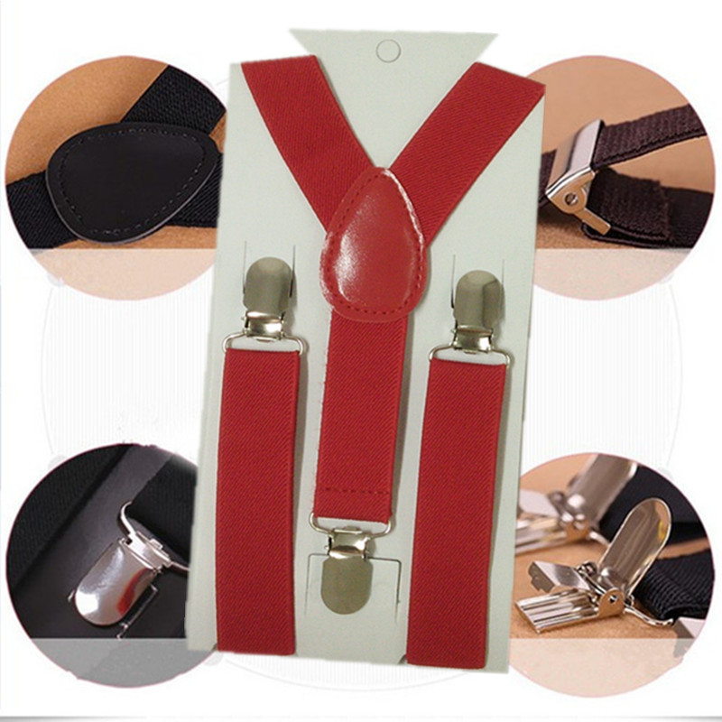 BD001-Red High Elastic Solid Color Kid Suspenders baby Accessories y boy Girl Children Suspender Baby brace 3 clips on