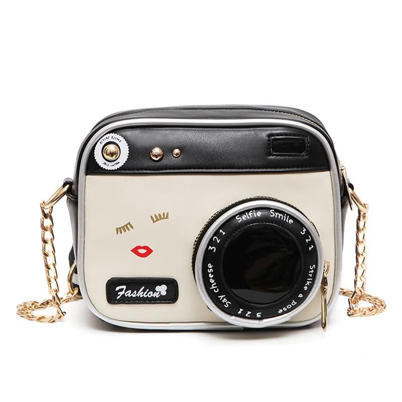 2018 Hot Crossbody Bags For Women Casual Mini Messenger chain Bag For Girls Pu Leather ladies Shoulder Bags Camera shape handbag