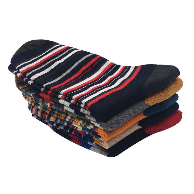 2018 новые мужские Носки повседневная мужская Носки цвет полосы пять пар Большие размеры 45-46-47- 48 модный дизайн коттоновые носки без подарочной коробке