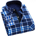 2017 Men's Casual Plaid Shirts Long Sleeve Slim Fit Comfort Soft Brushed Flannel  business thick Cotton Shirt Leisure Styles