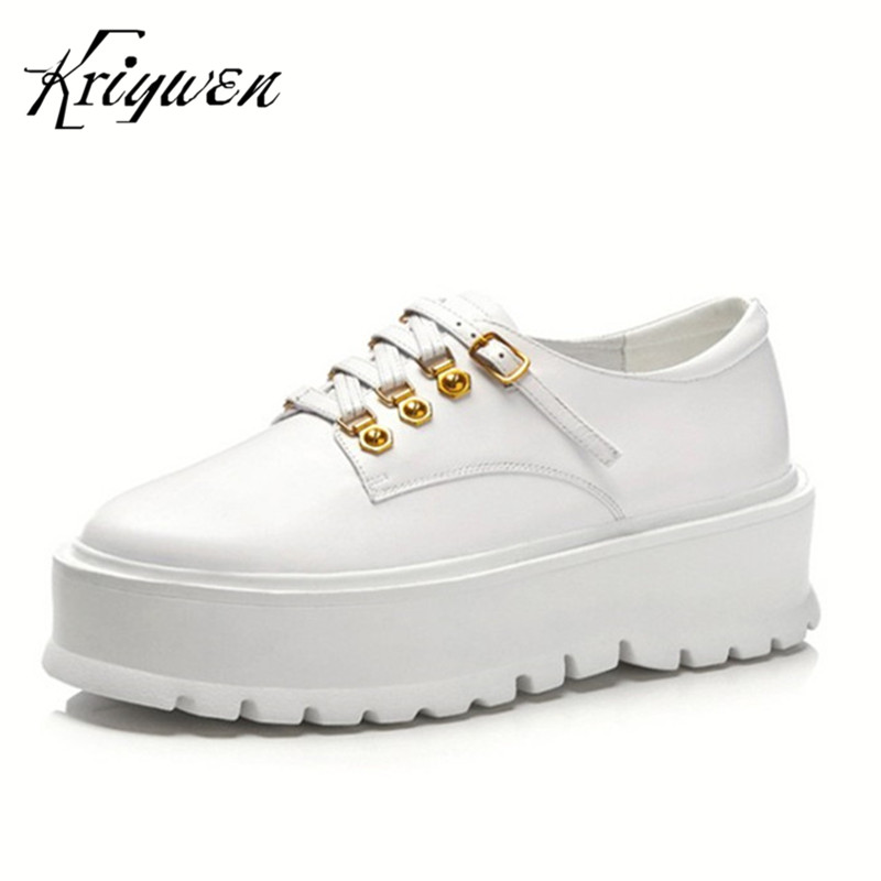 Kriywen Genuine Cow Leather Women Pumps Leisure Wedges Lady Punk Rivet Thick Soles Zapatos Mujer Female Platform Lace Up Shoes цена