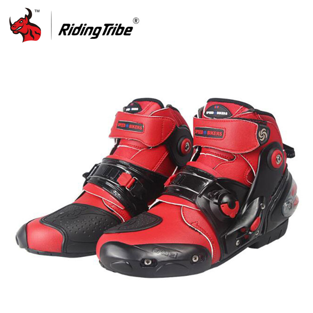 Riding Tribe Men 's Motorcycle short Boots Motorcycle Racing Boots Ankle height Moto Racing Motorcycle Boots Red Black White