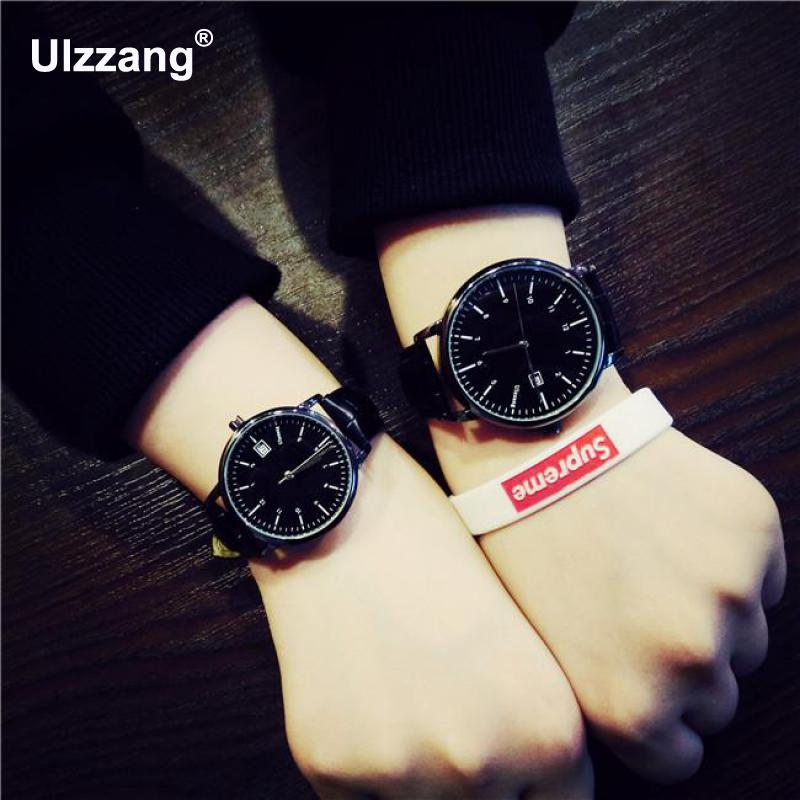 New Fashion Original Ulzzang Brand Leather Quartz Wristwatches Wrist Watch for Men Women Student Young Black