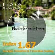 1,67 Index Photochrome Sonnenlicht Übergang Chameleon Kurzsichtigkeit Weitsichtigkeit Optische Verordnung Linse Gläser Für Brillen & 7 Beschichtung
