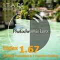1.67 Luz Solar Índice Photochromic Transición Camaleón Hipermetropía Miopía Prescripción Óptica Gafas de Lentes Para Gafas y 7 Recubrimiento