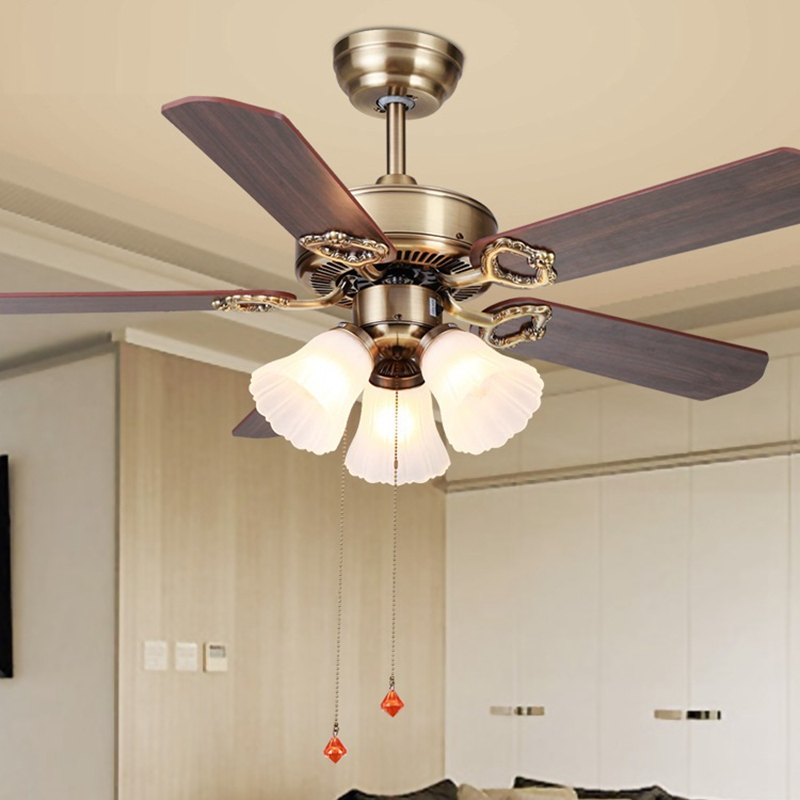 Ceiling Lights & Fans Lukloy 42 Inch European Fan Light Wood Leaf Living Room Restaurant Light Decorative Traditional Ceiling Pendant Fan Lamp