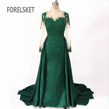 Long Sleeves Satin Mermaid Prom Dresses Green 2020 Engagement Celebration Saudi Arabia Beaded Lace Formal Evening party Gowns 2
