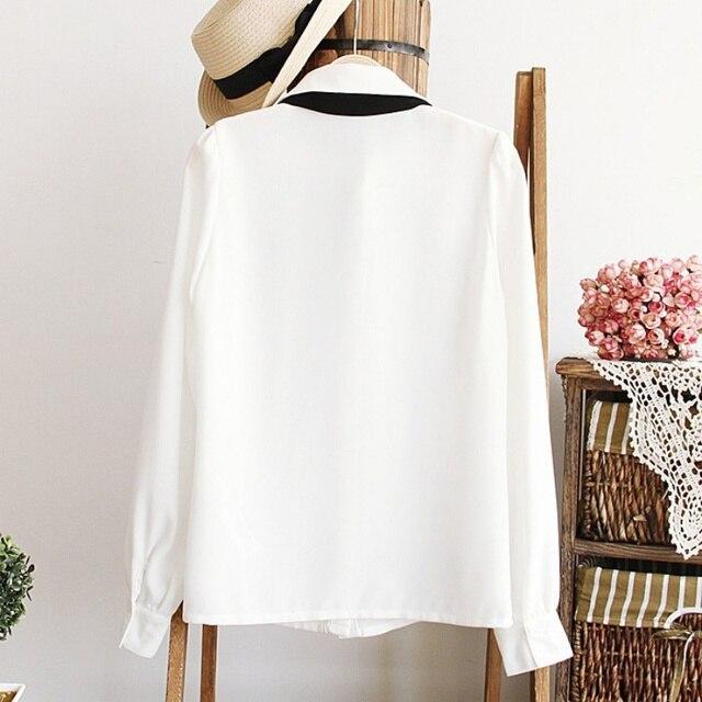 Fashion Women Elegant Bow Tie White Blouses Chiffon Casual Shirt Office Ladies Tops School Blusas Female Clothing new 2