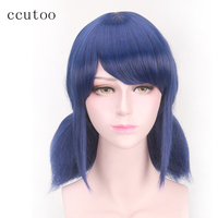 Ccutoo 16 Blue Black Mix Medium Straight Braids Synthetic Hair Styled Oblique Fringe Cosplay Wigs Perrque