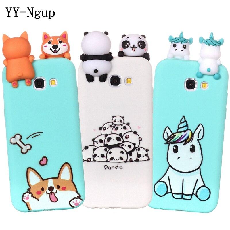 e03975992b9 Estuche para Samsung Galaxy A5 2017 caja del teléfono 3D unicornio Panda  perro funda de silicona en la sFor Coque Samsung A5 a3 2016 casos Caso