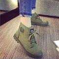 2017 Nuevos zapatos de Lona Del Tobillo Botas Otoño Denim Top de La Moda Casual Zapatos de Mujer Verde Del Ejército Gray Lace Up Botas Cortas