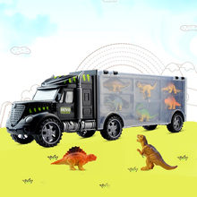 Kids Jurassic Dinosaur Transport Carrier Truck Vehicle Car Model Toy with 6pcs Plastic Mini Dinosaur Animal Figure Models Toys(China)
