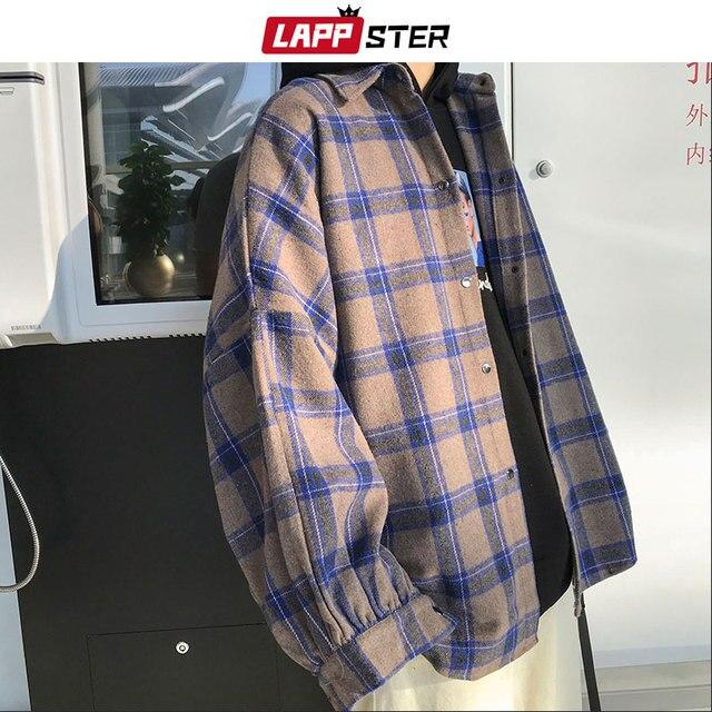 LAPPSTER Men Harajuku Color Block Plaid Shirt 2020 Mens Streetwear Thick Shirts Long Sleeve Male Vintage Korean Fashions Clothes 2