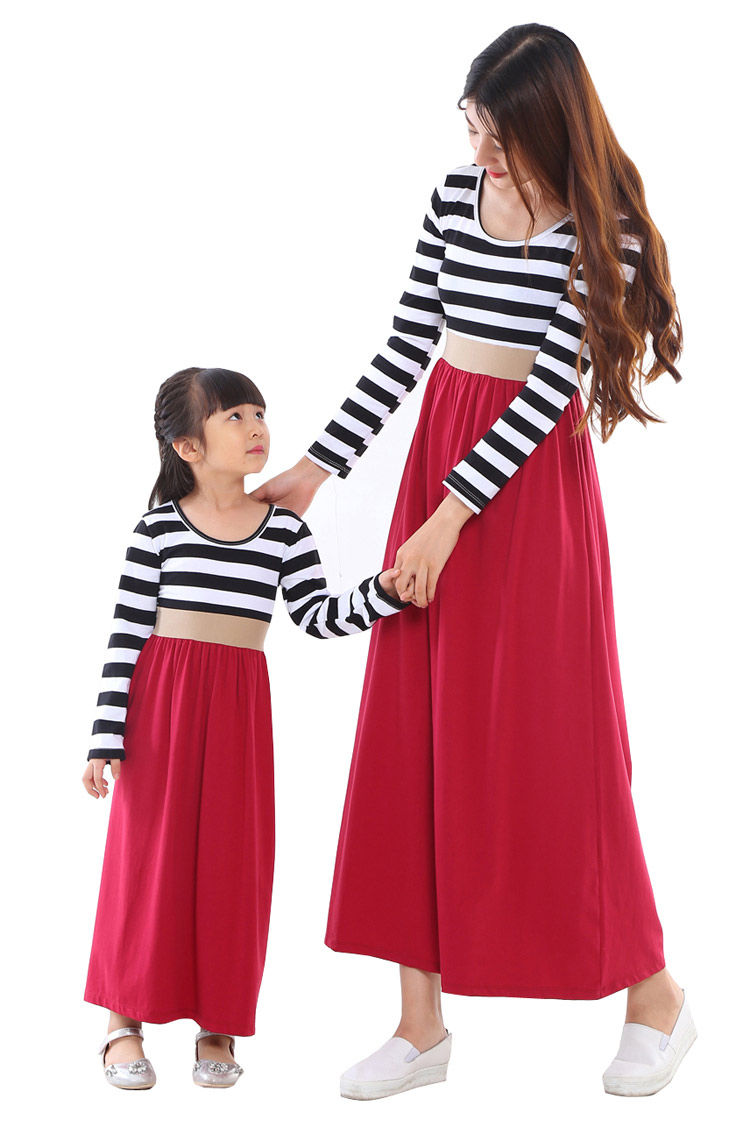 2017 Mommy and me family matching dress mother daughter dresses clothes striped mom and daughter dress kids parent child outfits