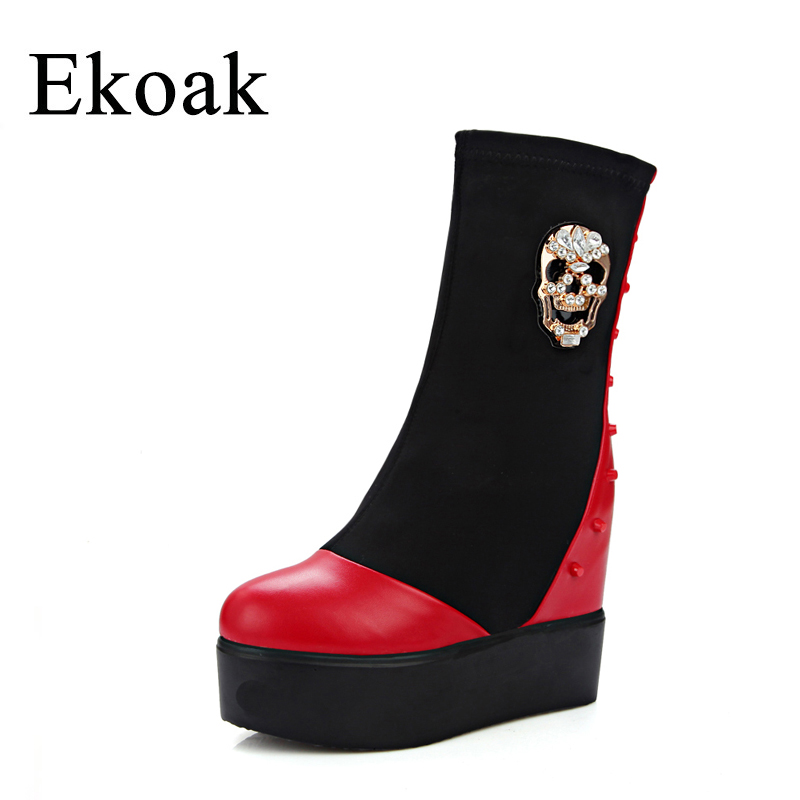 Ekoak New 2017 Fashion Skull Women Boots Round Toe Autumn Mid-Calf Platform Boots Classic Wedges Heels Martin Boots Shoes Woman riding boots chunky heels platform faux pu leather round toe mid calf boots fashion cross straps 2017 new hot woman shoes