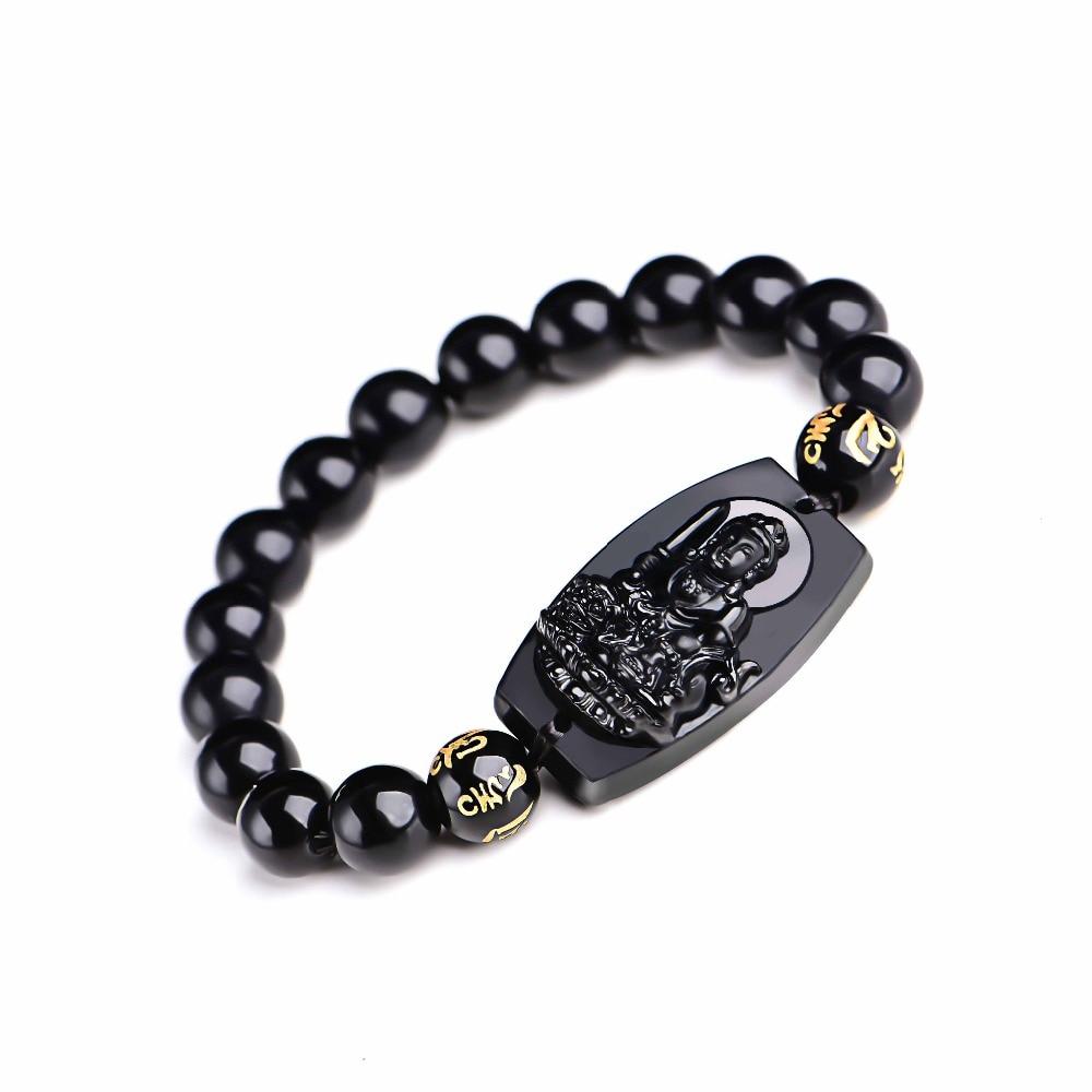 Natural Black Obsidian Buddha Bracelet 3