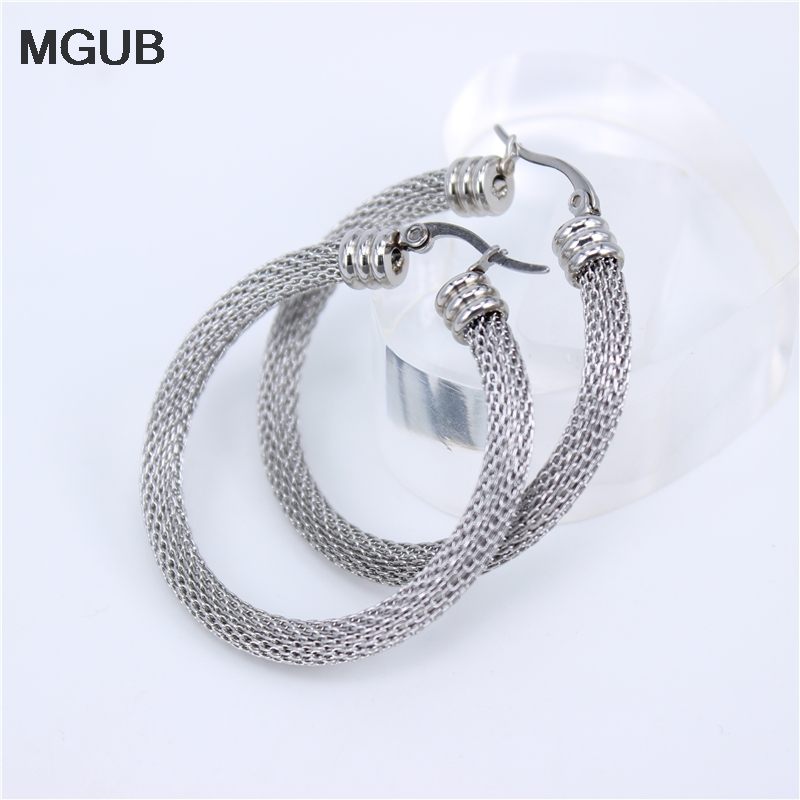MGUB 32mm-52mm Gold color Women Gift Sale Fashion Jewelry Stainless Steel Mesh Wives Round Fancy Hoop Earrings LHEH11
