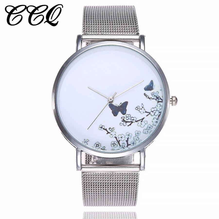CCQ Brand Stainless Steel Silver Mesh Band Creative Quartz Watch Casual Women Fashion Simple Watch Relogio Feminino Hot bgg brand creative two turntables dial women men watch stainless mesh boy girl casual quartz watch students watch relogio