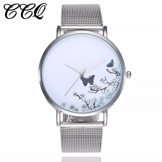 CCQ Brand Stainless Steel Silver Mesh Band Creative Quartz Watch Casual Women Fa