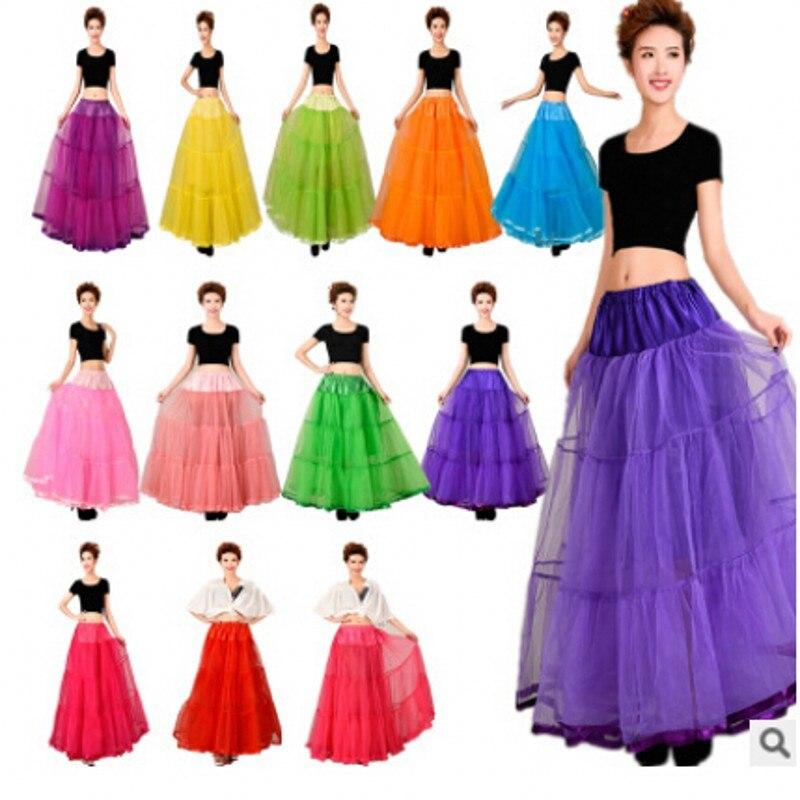 Petticoat 2017 Colored Petticoat Puffy Tulle Skirt Women Girls Underskirt Rockabilly Tutu Dress For Long Prom Dress