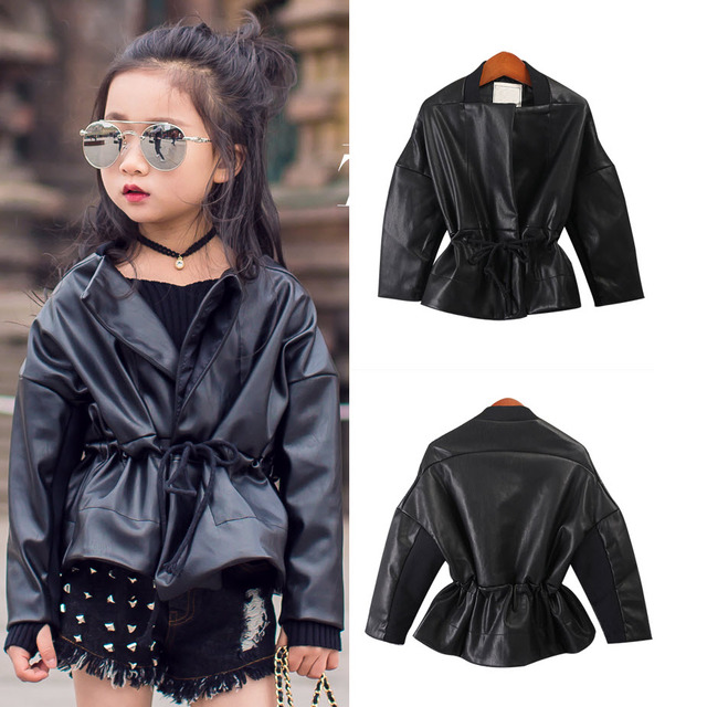 51f9ee674 2017 New Look Teens Batwing Sleeve PU Leather Coat Baby Jackets For ...