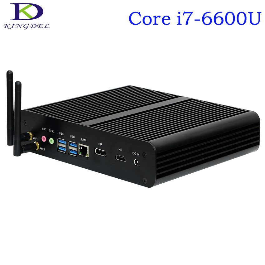 Kingdel Fanless Desktop Mini PC,4K HTPC,Intel SKYLAKE 6th Generation I7-6600U,Nettop With 16GB RAM+1TB HDD,1*DP+1*HDMI,Windows10