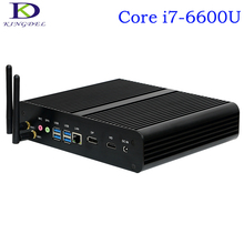 Kingdel Fanless Настольных Мини PC, 4 К HTPC, Intel SKYLAKE 6-го Поколения i7-6600U, Неттоп С 16 ГБ RAM + 1 ТБ HDD, 1 * DP + 1 * HDMI, Windows10