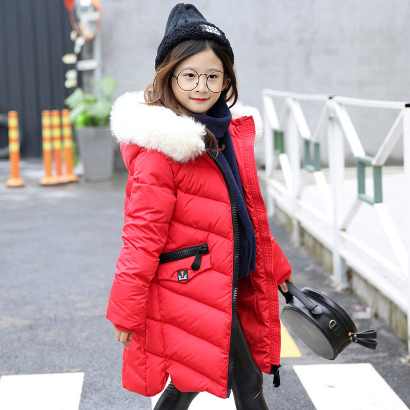 2017 New Winter Thicken Long Hooded Girls Down Jacket Overcoat Big Fur Collar Jacket Coats Children Outerwear Overcoat Clothes down winter jacket for girls thickening long coats big children s clothing 2017 girl s jacket outwear 5 14 year
