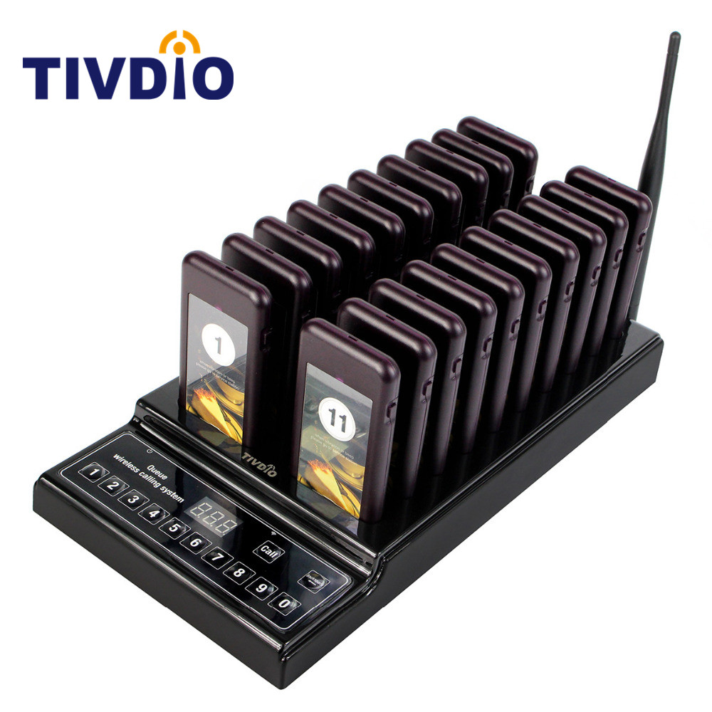 TIVDIO Wireless Pager Restaurant 20 Paging Queuing System Call Button Pager 999 Channel Restaurant Equipment Coaster Pager F9402 wireless call bell system quick service restaurant pager equipment ycall brand 433 92mhz 1 display 8 call button