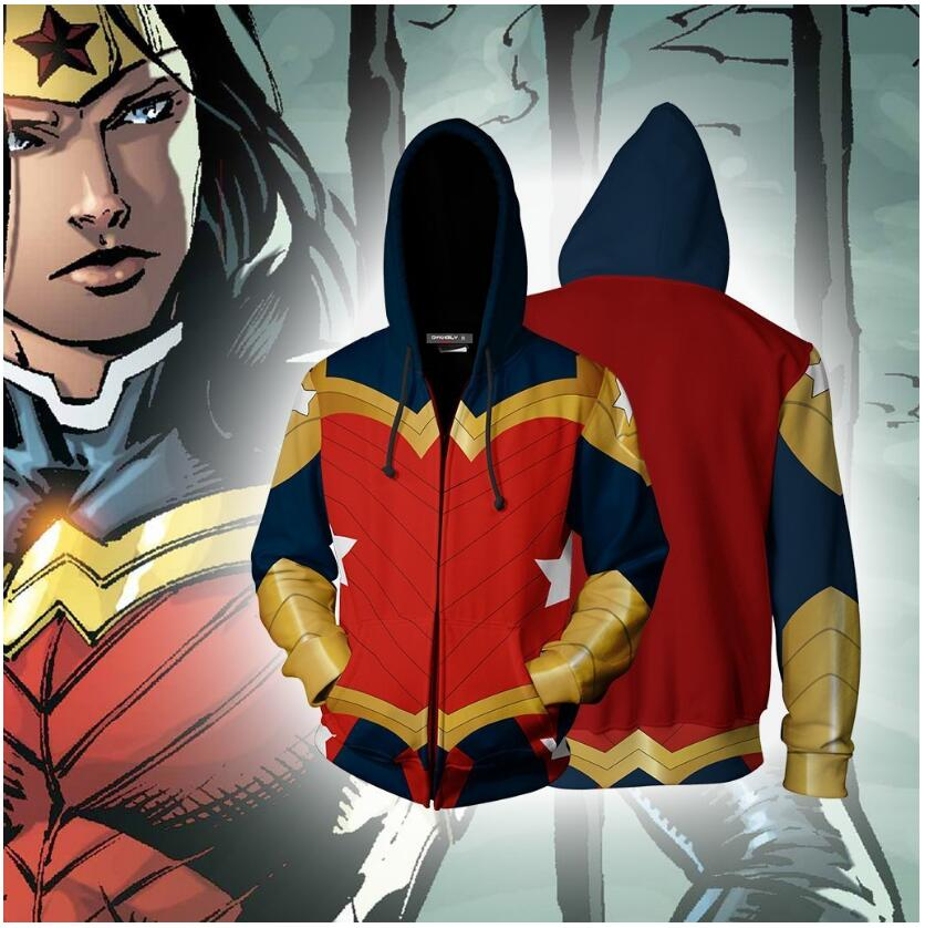 2019 New 3D Print Wonder Woman Cosplay Hooded Zipper Men Hoodie Sweatshirt Fashion Casual Tracksuit Outerwear Jacket