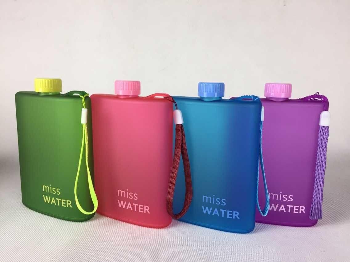 Creative Flat Water Bottle Notebook Design Sports Outdoor Travel Drinking Water