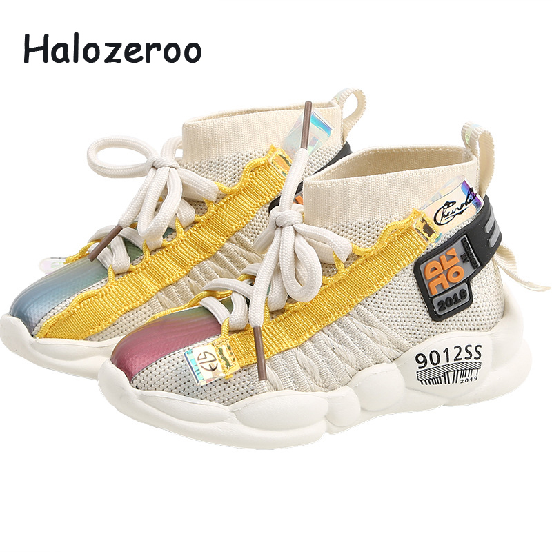 Autumn 2019 Toddler High Sport Sneakers Children Casual Sneakers Baby Girls Mesh Shoes Boys Black Chunky Sneakers Brand Trainers