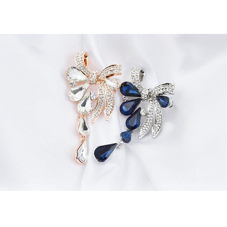 CINDY XIANG New Arrival Fashion Bow Brooches for Women Rhinestone Water-drop Style Brooch Pin 3 colors Available Summer 2021 3