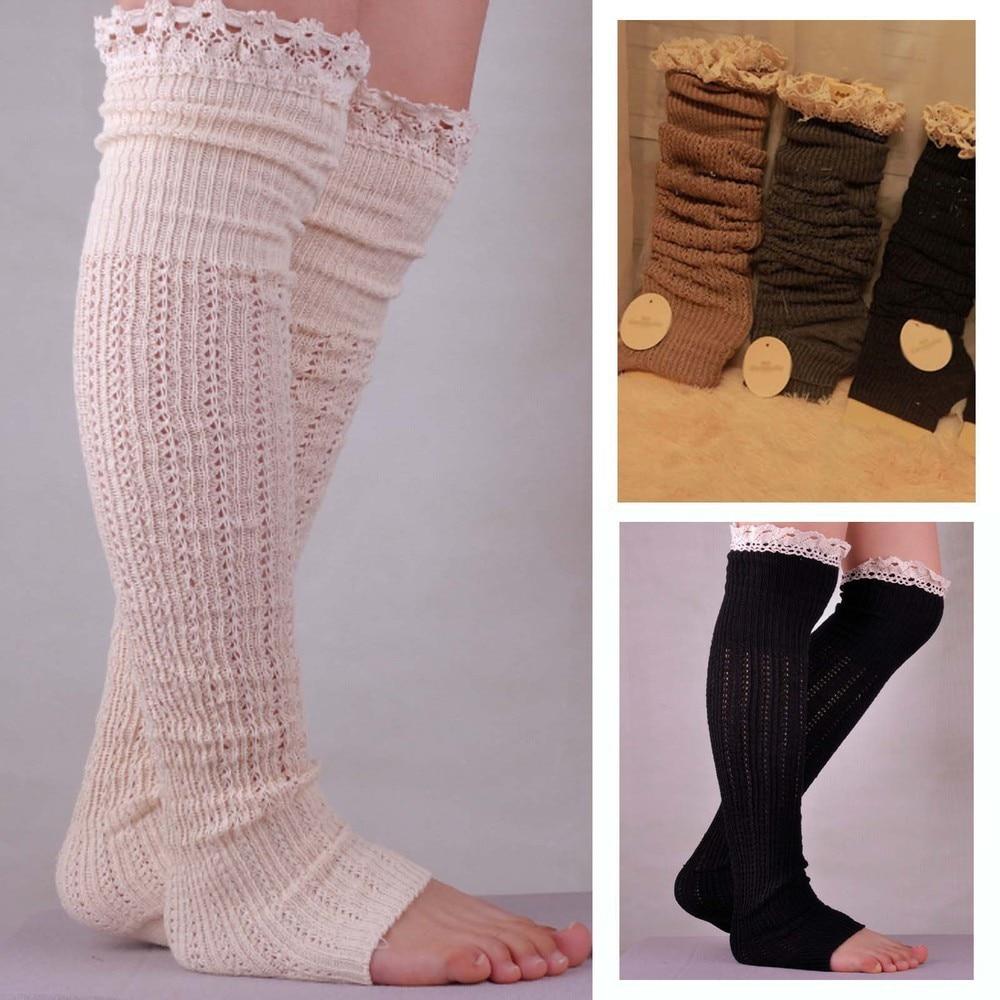 Soild cotton lace socks knitting Wool trample feet leg warmers for ...