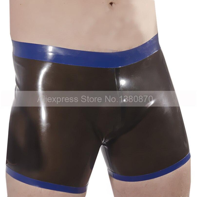 Effizient Schwarz Und Blau Schneidet Gummi Latex Mann Shorts Niedriger Taille Engen Männlichen Höschen Keine Zip S-lpm048