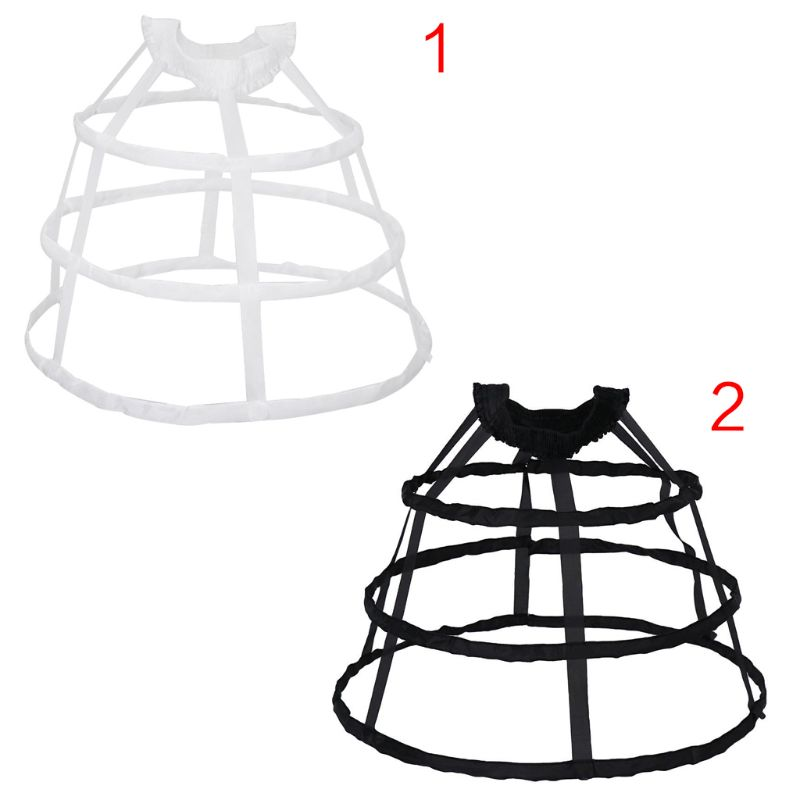Women 3 Hoops Pannier Petticoat Hollow Out Birdcage Skirt Wedding Bridal Ruffles Wide Waistband Crinoline Slip Underskirt Bustle