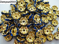 200 pçs/lote 10mm Top Quality Checa Real Blue Crystal Rhinestone Pave Rondelle Ondulado Metal Spacer Contas Loose Jóias