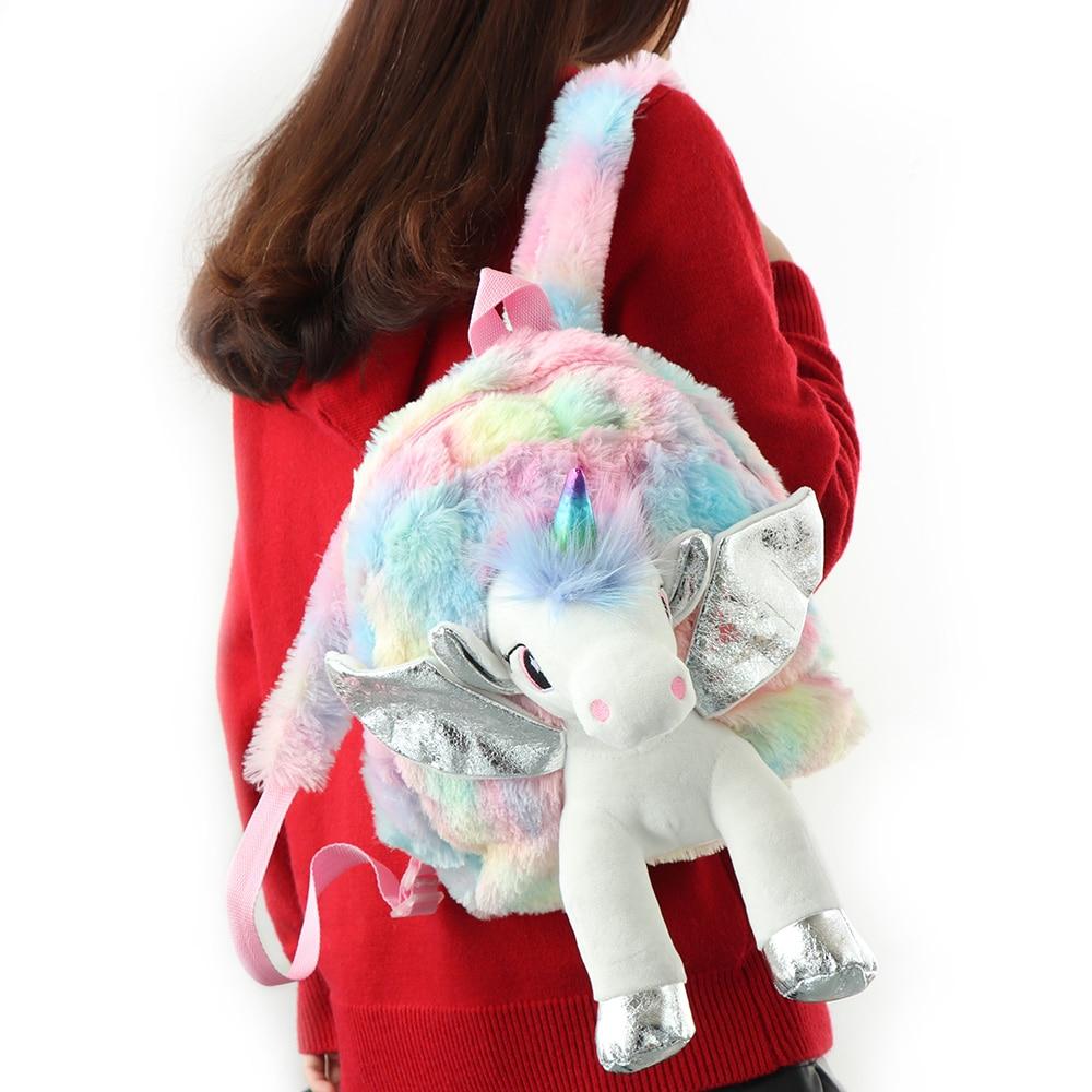 Image 4 - Cute Kids Girls Unicorn Backpack Shoulder Bag Soft Rainbow Plush Backbag Women Travel Bags Student School Book Bag Kids Gift-in Backpacks from Luggage & Bags