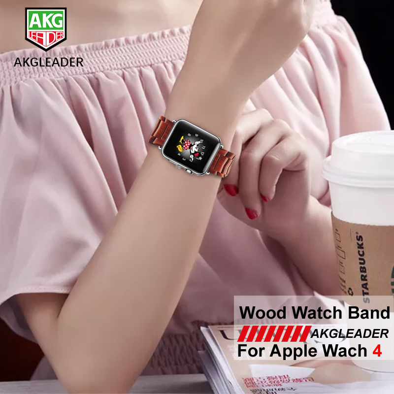 купить Natural Wood Watch Strap For Apple Watch Series 4 40mm 44mm iWatch Band For Apple Watch Series 1 2 3 4 38mm 42mm Watchbands по цене 2413.99 рублей