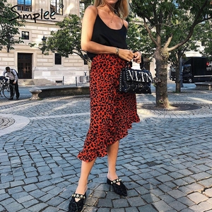 Image 3 - Женская красная леопардовая юбка карандаш Simplee, привлекательная юбка с завышенной талией и рюшами для девочек, винтажная корейская миди юбка для осени и зимы