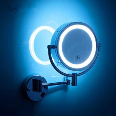LED brass cosmetic mirror wall mounted bathroom beauty mirror double faced retractable makeup mirror folding mirror with led