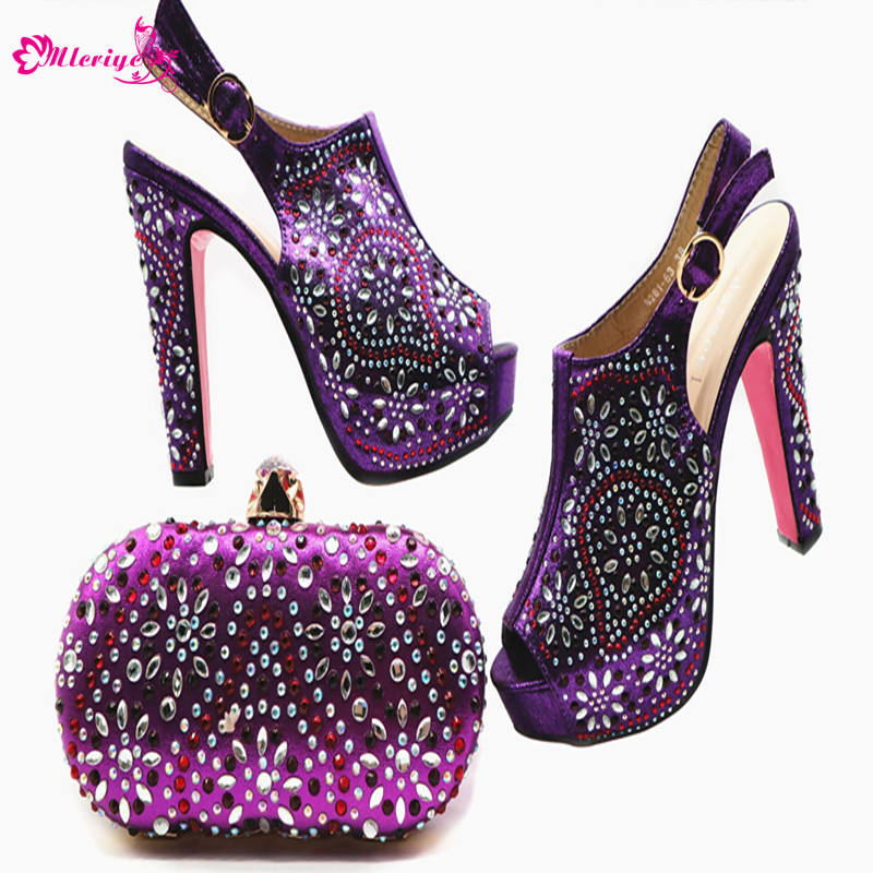 New Arrival Italian Shoes with Matching Bags High Quality Nigerian Women Wedding Shoes with Bag Sets Decorated with Appliques wenzhan latest shoes matching bags lemon green flannelette material for wedding high heel shoes with appliques bag hot a711 28