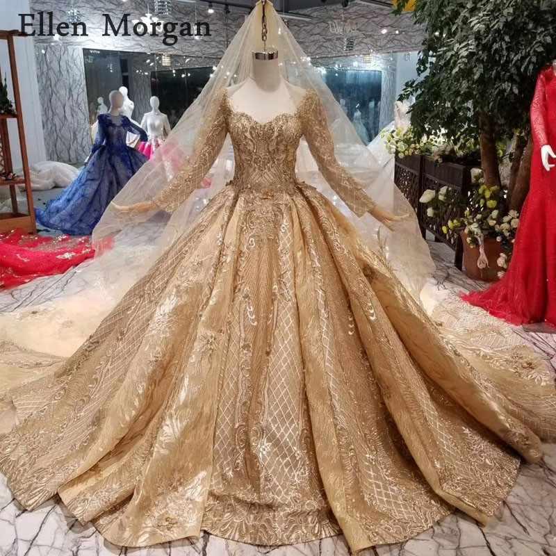 Золотые кружевные свадебные платья с длинными рукавами, 2019 милые реальные фотографии, блестящие, сделанные на заказ, для невесты, без вуали