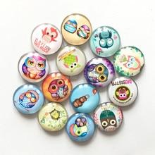 Free shipping (12pcs/lot)Cute Owl Crystal Glass fridge magnet Kawaii Round Cartoon animal message sticker Home Decor kids gift